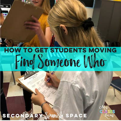 Movement in Spanish Class - 10 ways to get students out of their seats - by Mis Clases Locas on Secondary Spanish Space