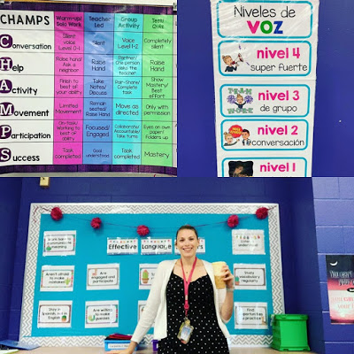 World Language Spanish French CHAMPS voice level Classroom Management Posters