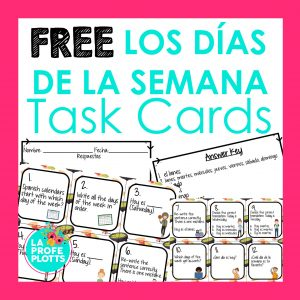 days of the week Spanish task cards