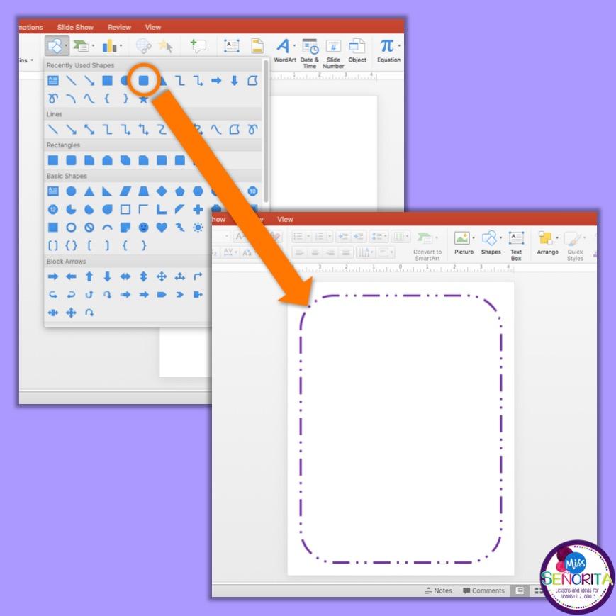 how to make paper bingo - insert shape to make border
