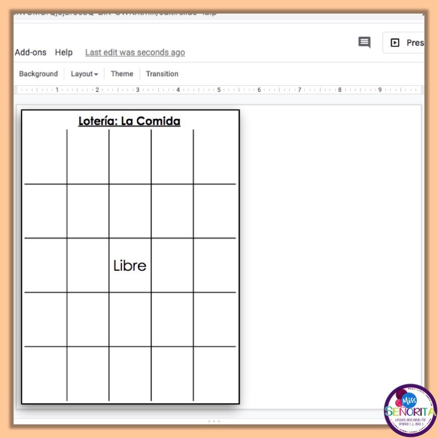how to make digital bingo - add lines and libre to the bingo board