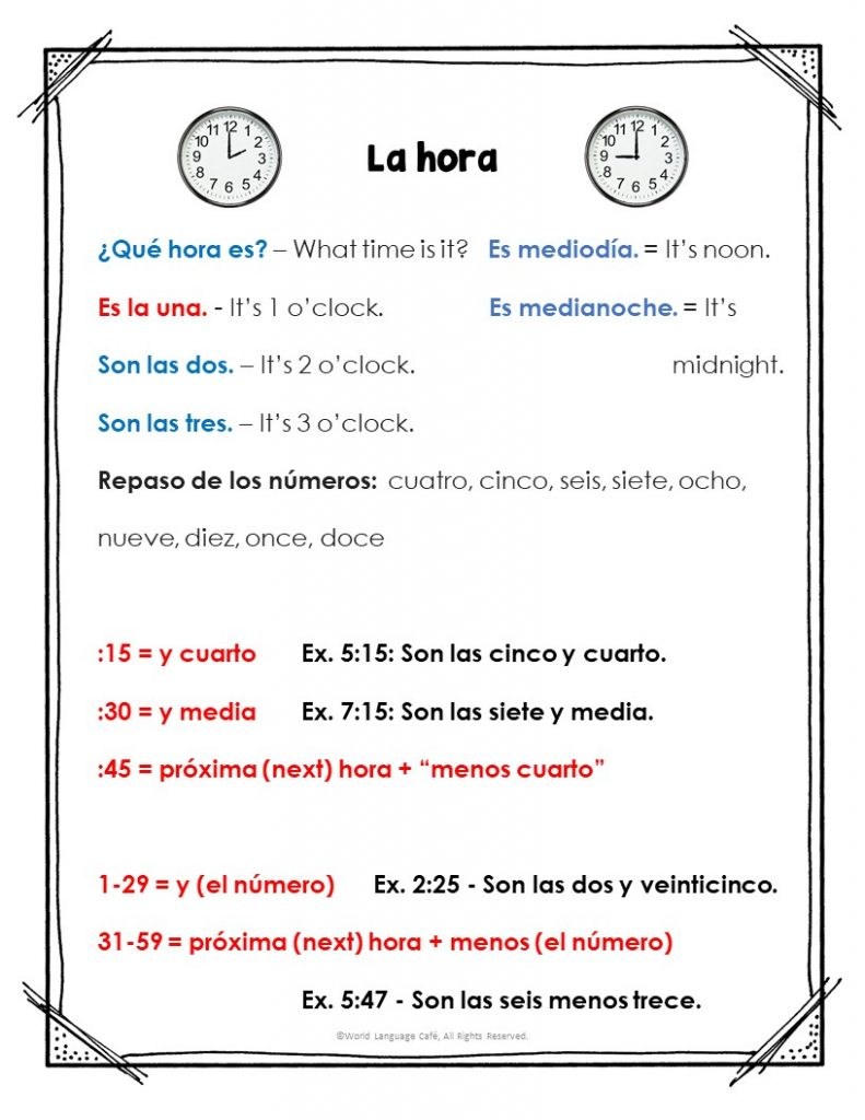 Free Spanish Time Worksheets