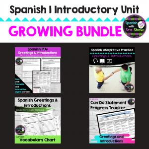 Spanish 1 Introductory Unit Growing Bundle Sra Shaw
